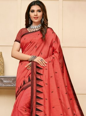 Embroidered Peach Cotton Silk Classic Saree
