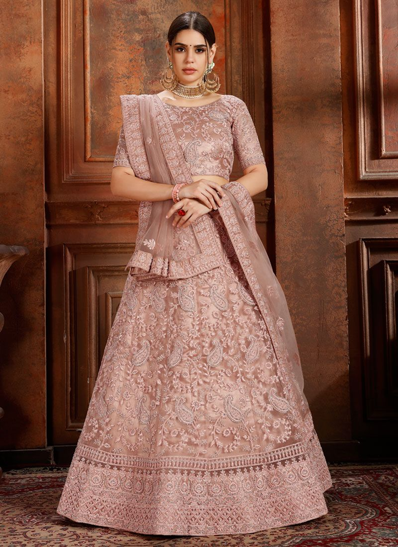 Embroidered Peach Designer Lehenga Choli