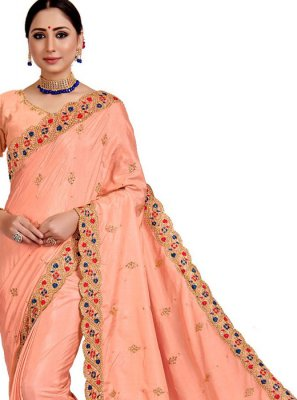 Embroidered Peach Designer Saree