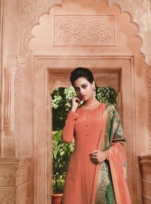 Embroidered Peach Faux Crepe Designer Salwar Kameez
