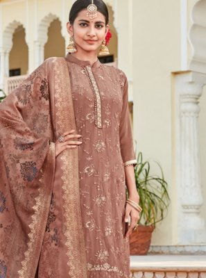 Embroidered Peach Faux Crepe Designer Suit