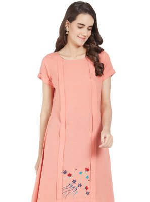 Embroidered Peach Linen Casual Kurti