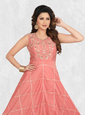 Embroidered Peach Muslin Party Wear Kurti