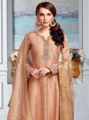 Embroidered Peach Salwar Kameez