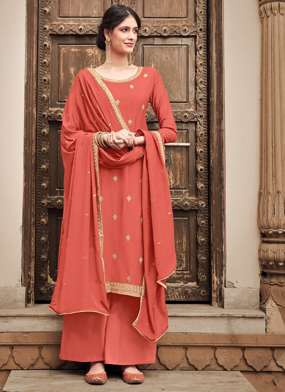 Embroidered Peach Silk Palazzo Salwar Suit
