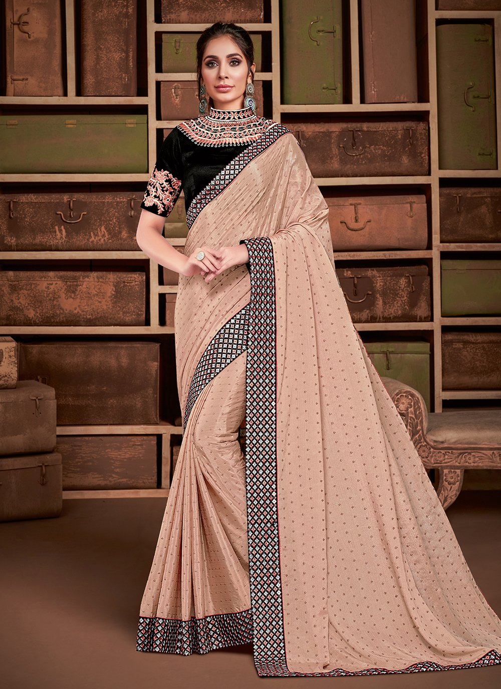 Embroidered Peach Silk Traditional Saree