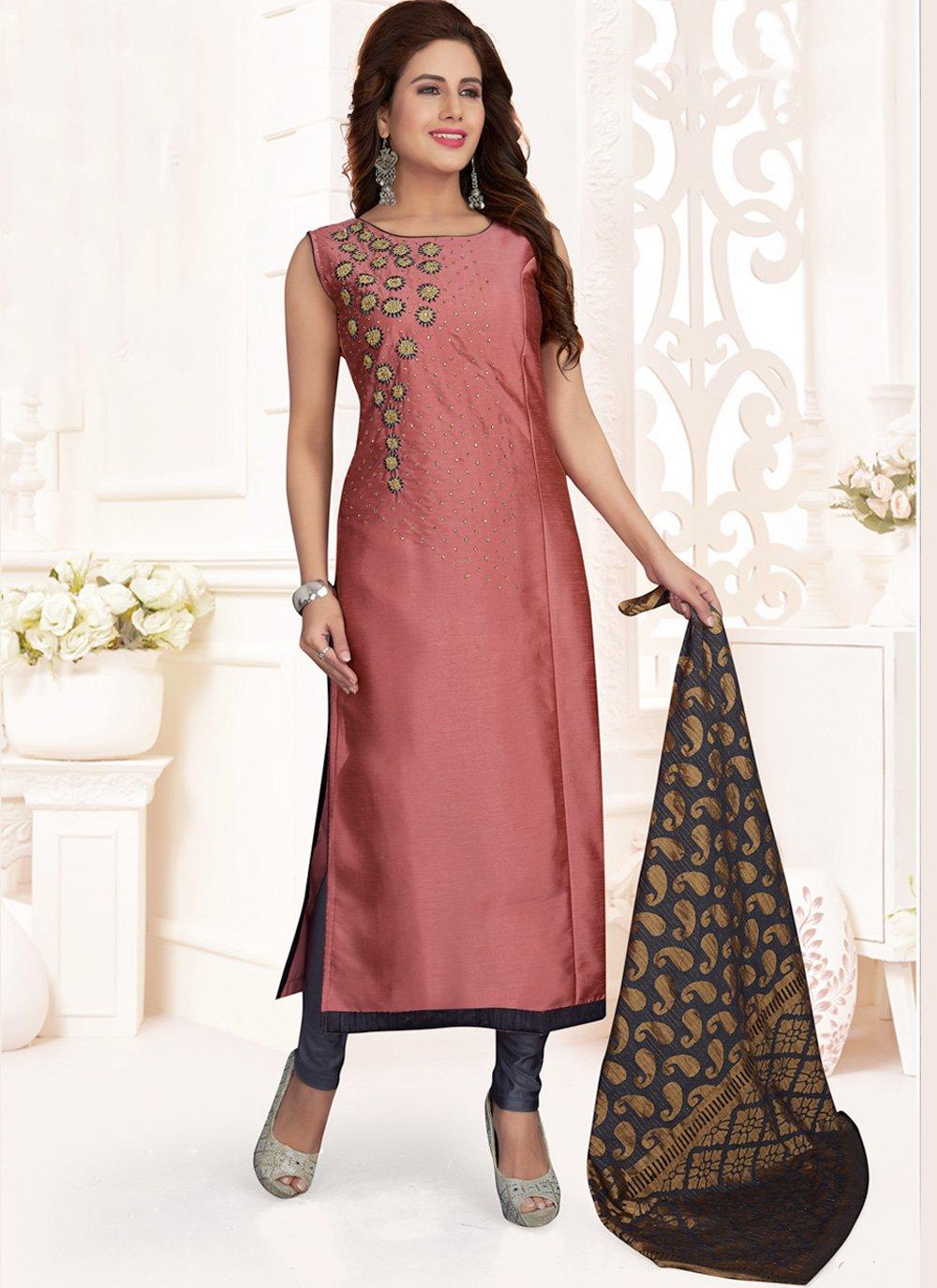 Embroidered Pink Art Silk Churidar Salwar Kameez