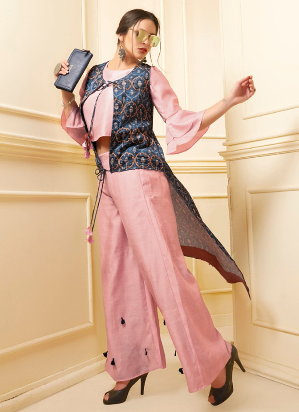 Embroidered Pink Art Silk Designer Kurti