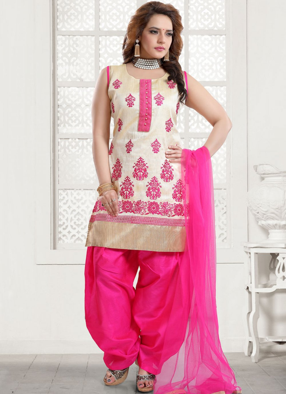Embroidered Pink Art Silk Designer Patiala Suit