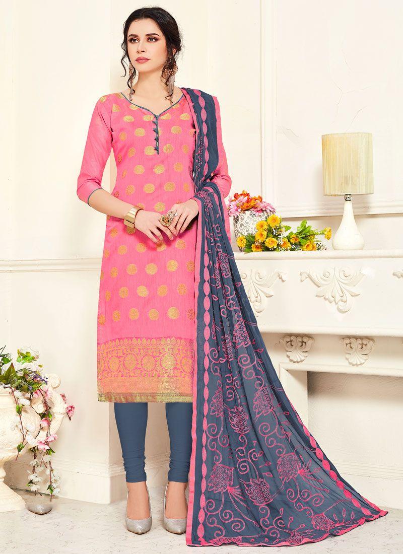 Embroidered Pink Banarasi Silk Churidar Suit