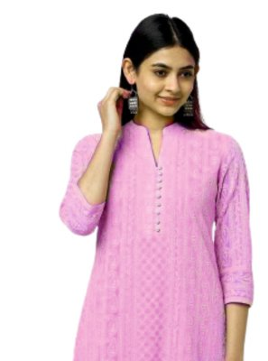 Embroidered Pink Casual Kurti