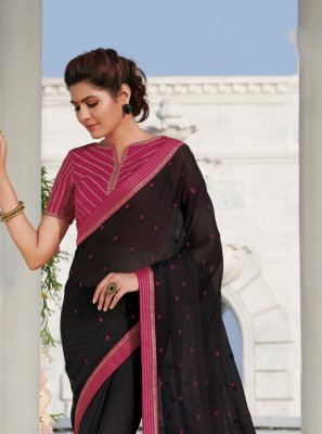 Embroidered Pink Casual Saree