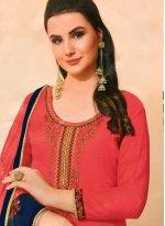 Embroidered Pink Cotton Silk Bollywood Salwar Kameez