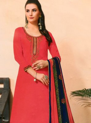 Embroidered Pink Cotton Silk Bollywood Salwar Kameez
