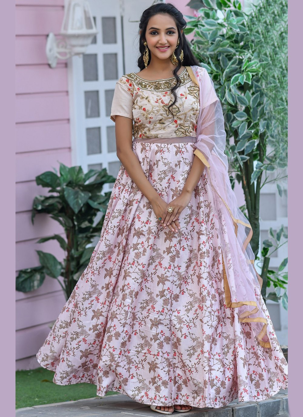 Embroidered Pink Designer Gown
