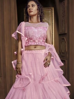 Embroidered Pink Designer Lehenga Choli