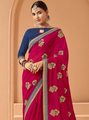 Embroidered Pink Georgette Designer Saree