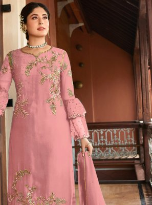 Embroidered Pink Georgette Trendy Salwar Kameez