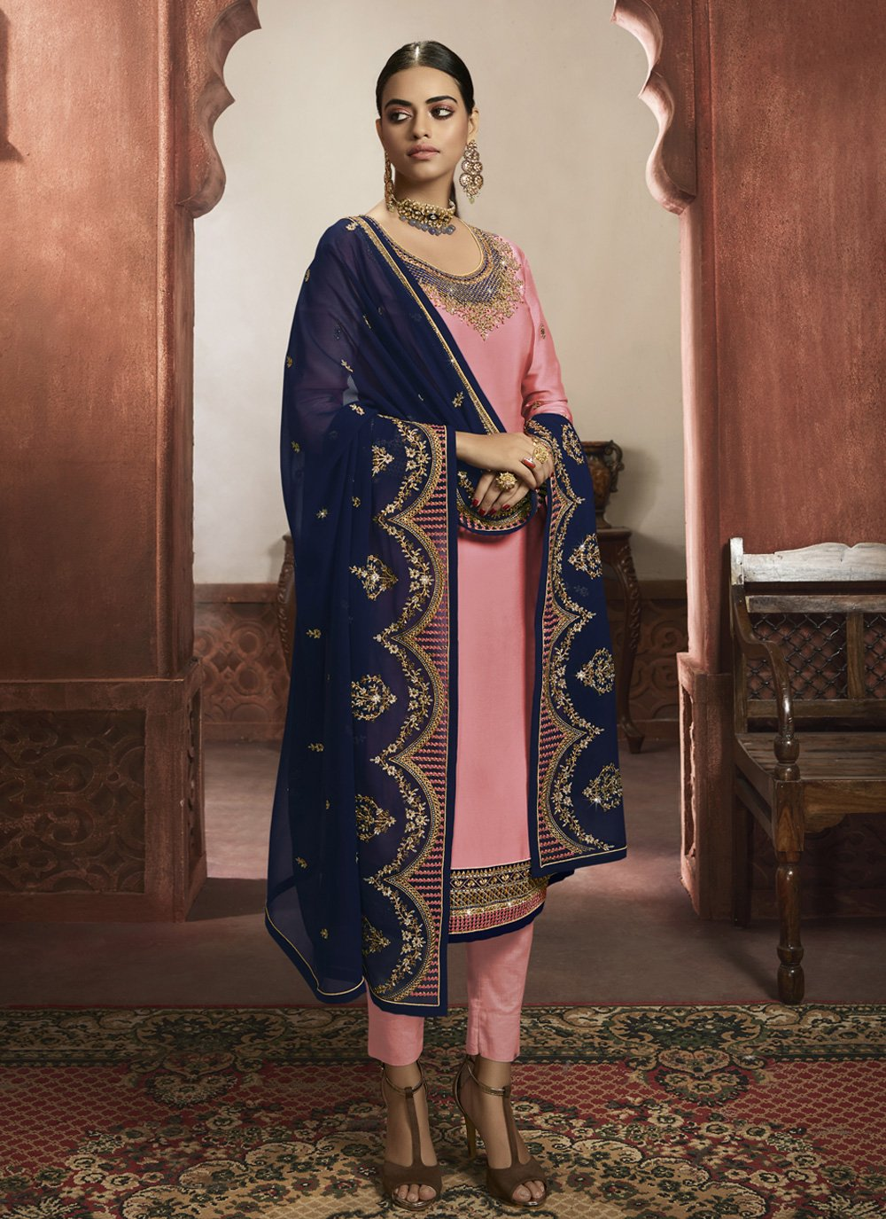 Embroidered Pink Readymade Salwar Suit
