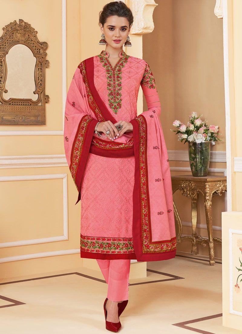 Embroidered Pink Salwar Kameez