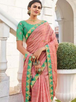 Embroidered Pink Traditional Saree