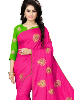 Embroidered Pink Trendy Saree