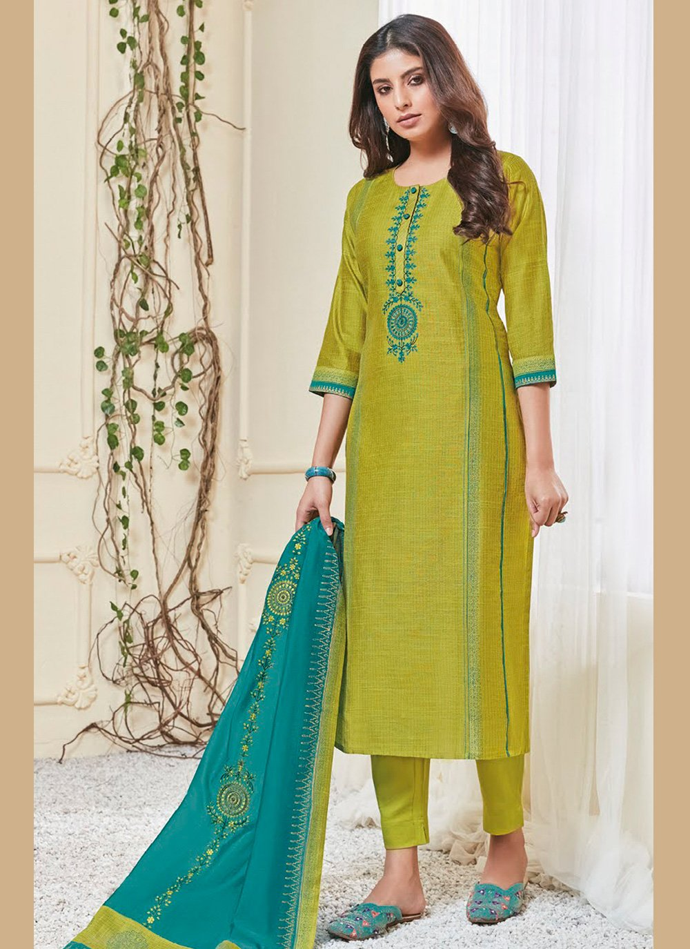 Embroidered Polly Cotton Pant Style Suit in Green