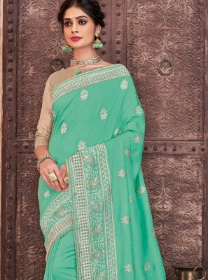 Embroidered Poly Silk Aqua Blue Trendy Saree