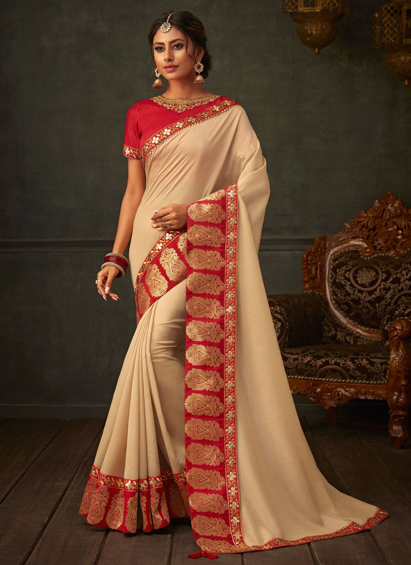 Embroidered Poly Silk Beige Designer Saree