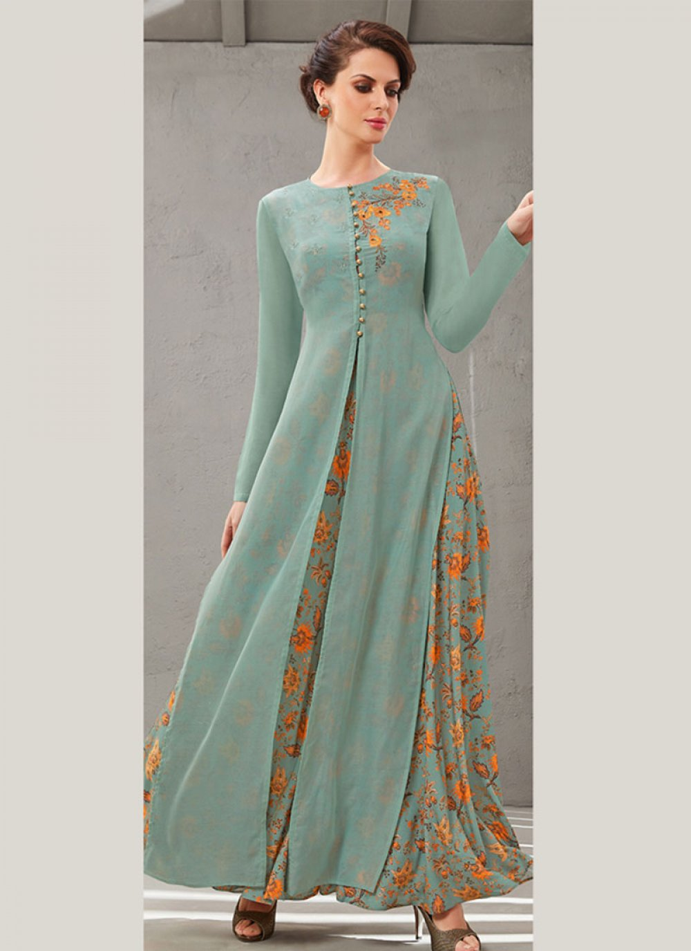 Embroidered Poly Silk Blue Readymade Gown