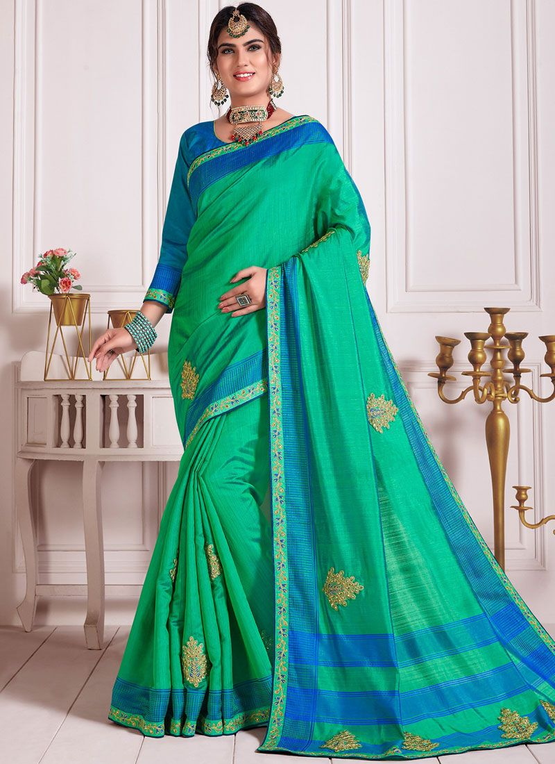 Embroidered Poly Silk Classic Designer Saree