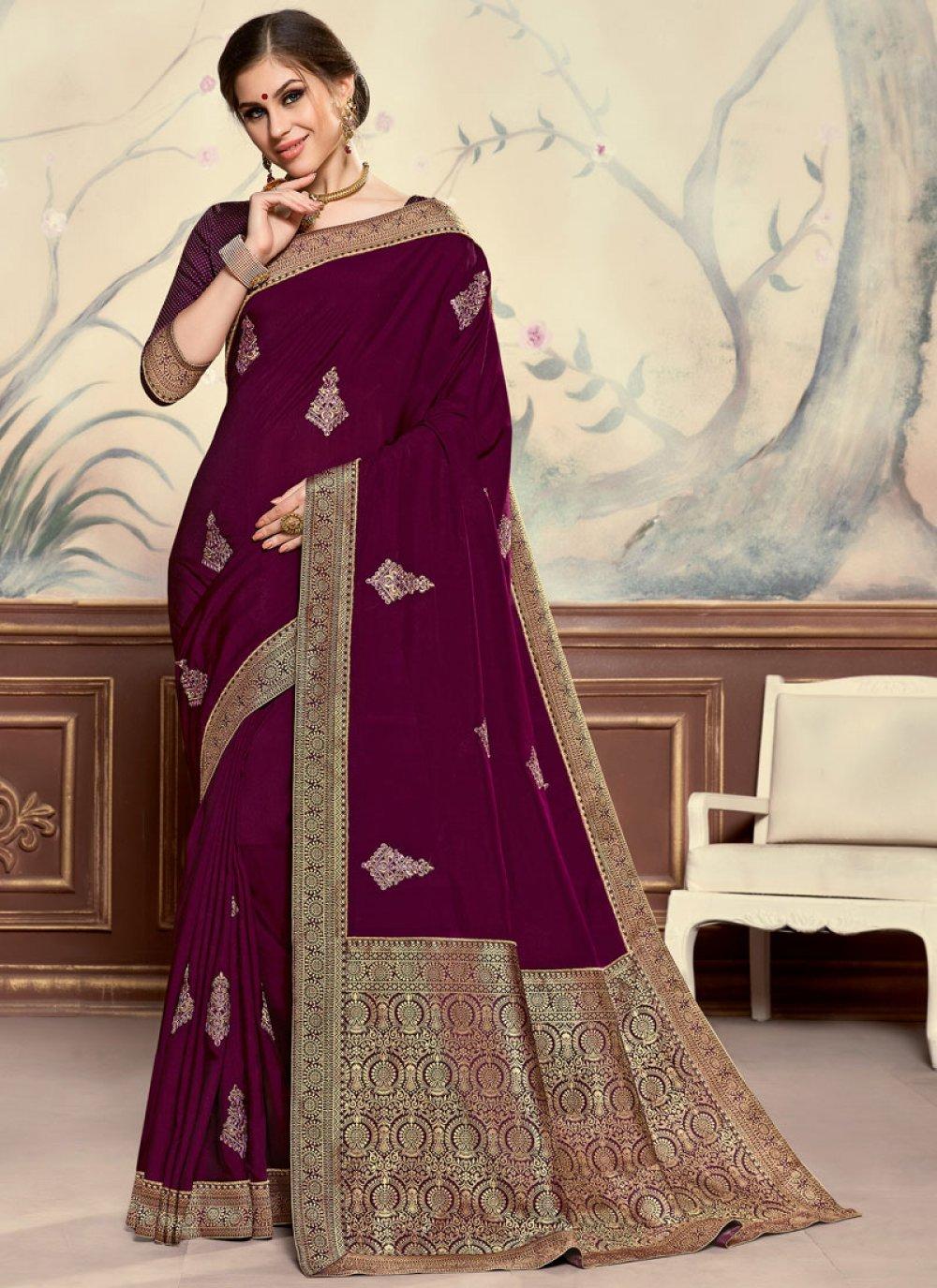 Embroidered Poly Silk Classic Designer Saree in Purple