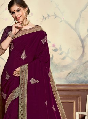 Embroidered Poly Silk Classic Designer Saree in Purple