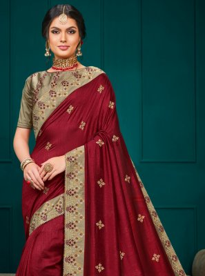 Embroidered Poly Silk Contemporary Saree in Maroon