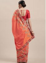 Embroidered Poly Silk Orange Traditional Saree