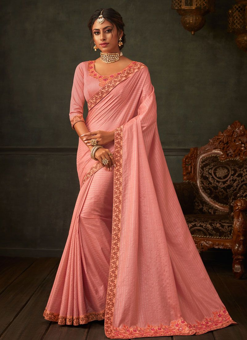 Embroidered Poly Silk Pink Classic Saree
