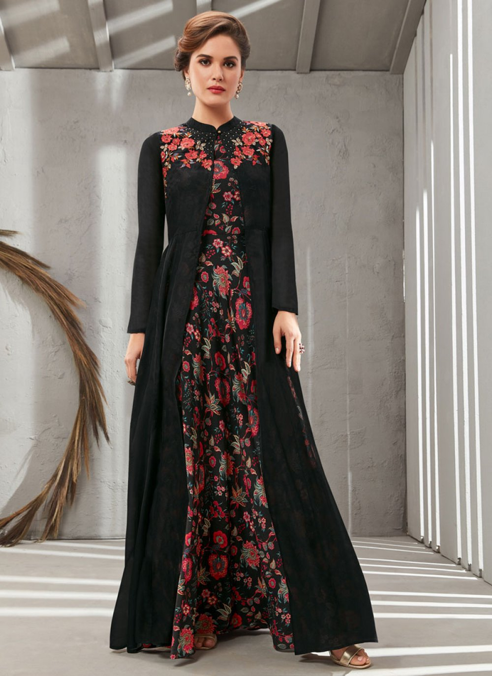 Embroidered Poly Silk Readymade Designer Gown