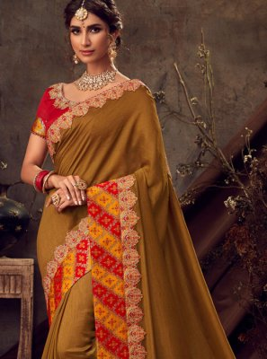 Embroidered Poly Silk Silk Saree