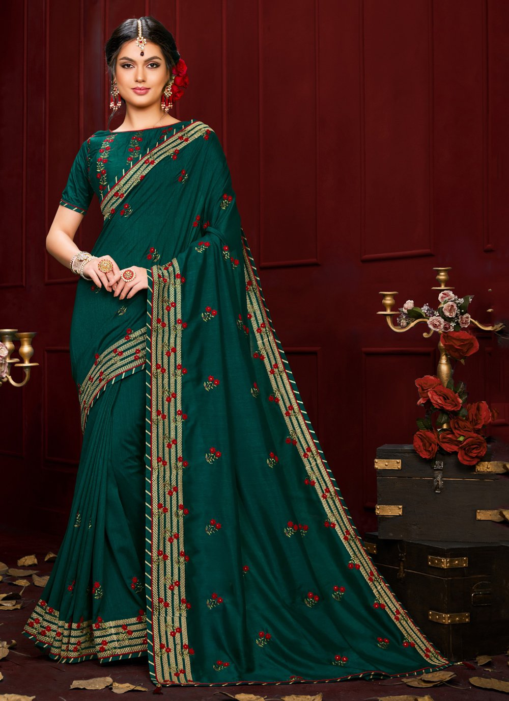 Embroidered Poly Silk Trendy Saree in Green