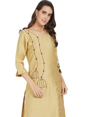 Embroidered Polyester Cream Party Wear Kurti