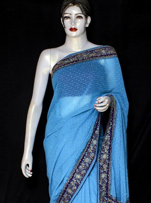 Embroidered Pure Chiffon Blue Designer Saree