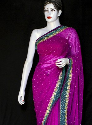 Embroidered Pure Chiffon Designer Saree