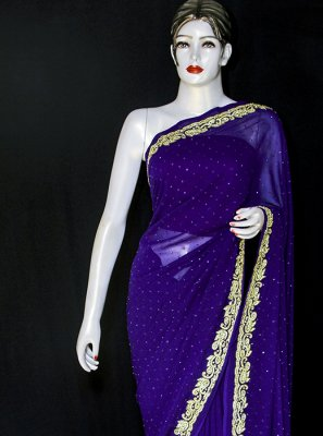 Embroidered Pure Chiffon Designer Saree in Blue