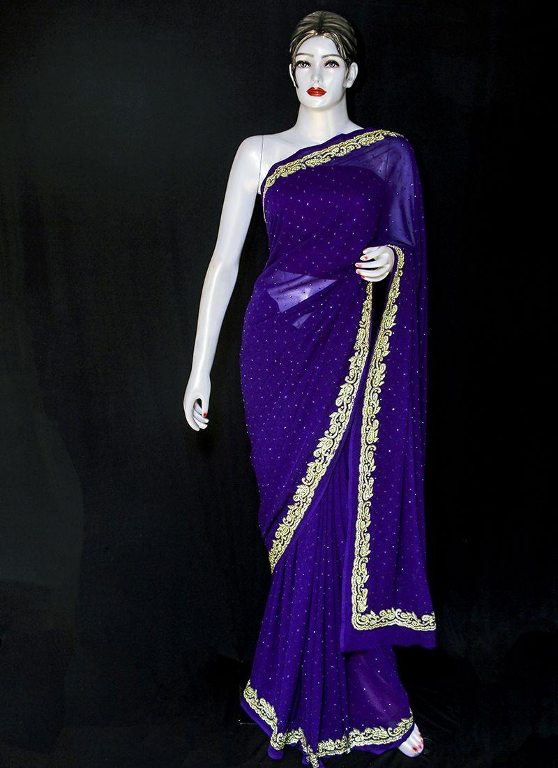 Embroidered Pure Chiffon Designer Saree in Blue