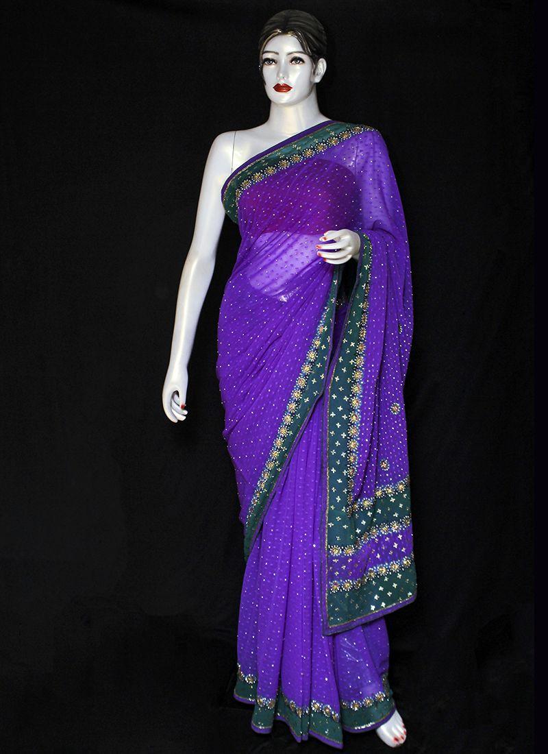 Embroidered Pure Chiffon Designer Saree in Violet