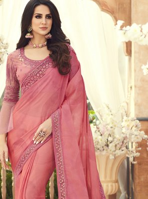 Embroidered Pure Chiffon Saree