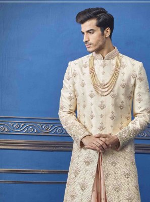 Embroidered Pure Silk Sherwani in Gold