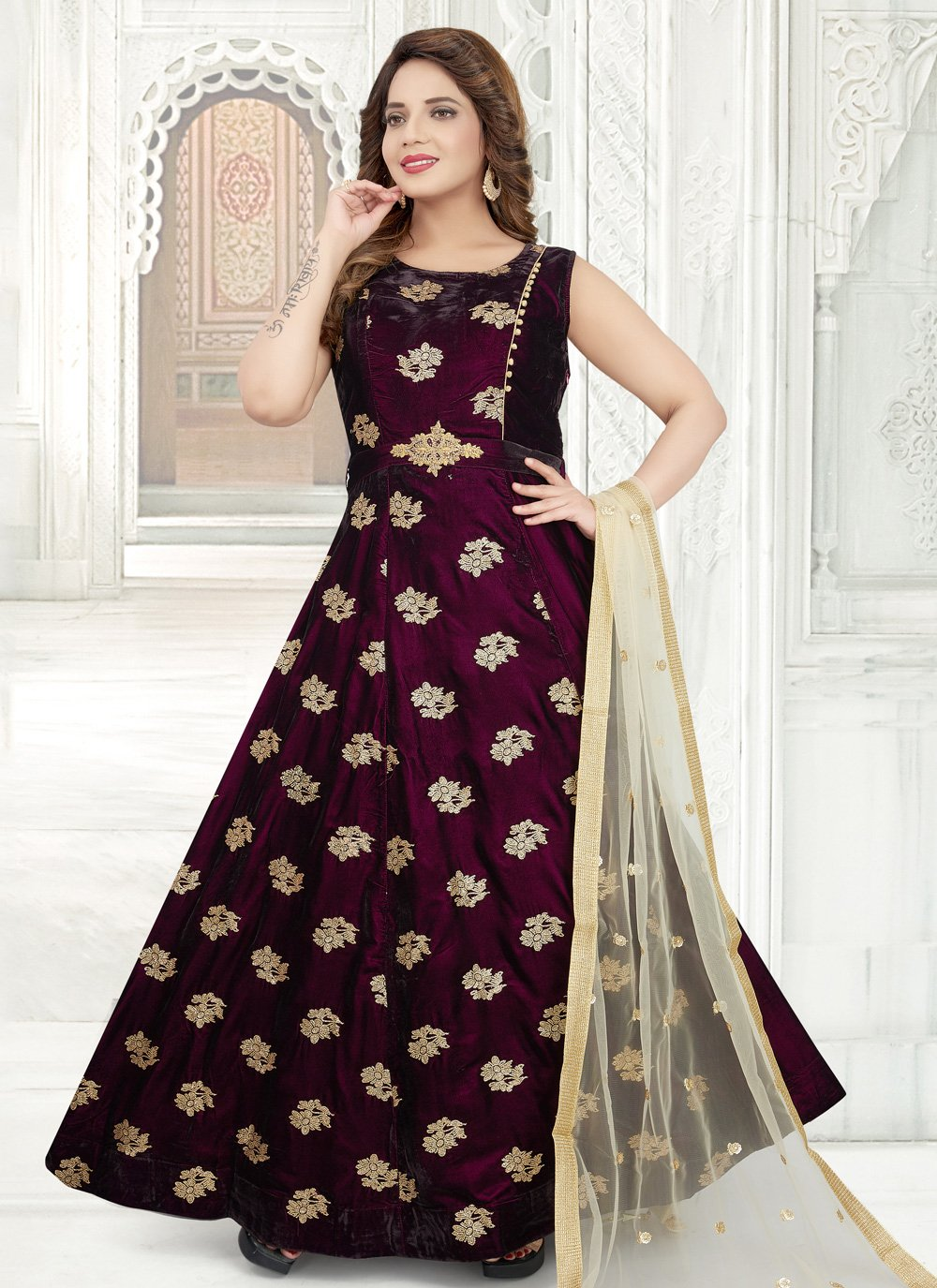 Embroidered Purple Anarkali Salwar Kameez