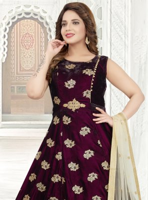 Embroidered Purple Anarkali Salwar Kameez