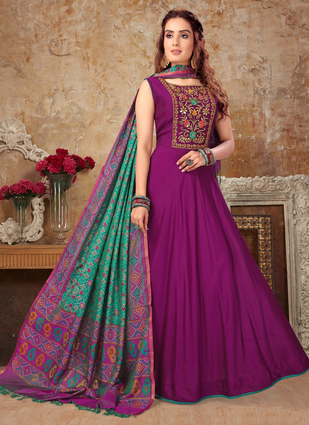 Embroidered Purple Art Silk Anarkali Salwar Suit